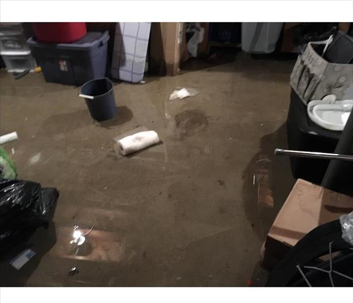Basement with standing water with debris in the water