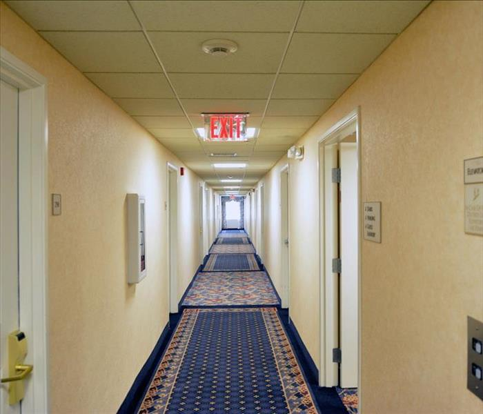 the hotel corridor perfectly clean, dry and ready for use