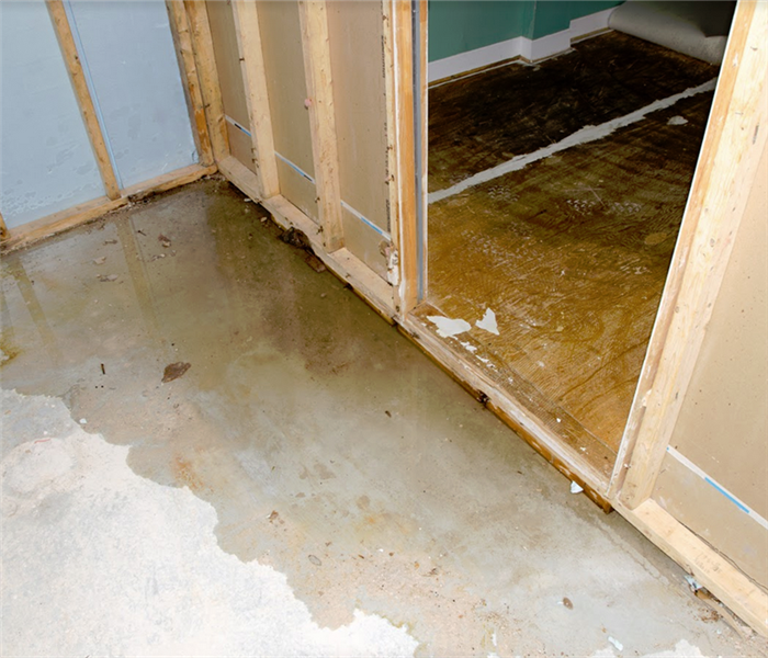 water sitting on a basement floor and walls without drywall