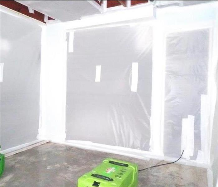 polysheeting containment in a hotel